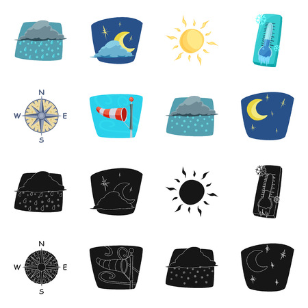 Isolated object of weather and climate logo. Collection of weather and cloud stock vector illustration.