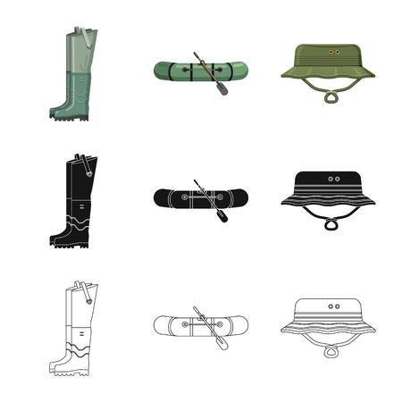 Illustration vectorielle d'icône de poisson et de pêche. Collection de poisson et équipement symbole boursier pour le web.