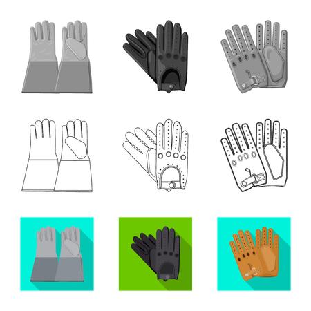 Vector illustration of glove and winter symbol. Collection of glove and equipment vector icon for stock. Illustration