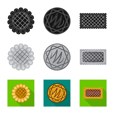 Vector illustration of biscuit and bake icon. Collection of biscuit and chocolate stock vector illustration. Иллюстрация