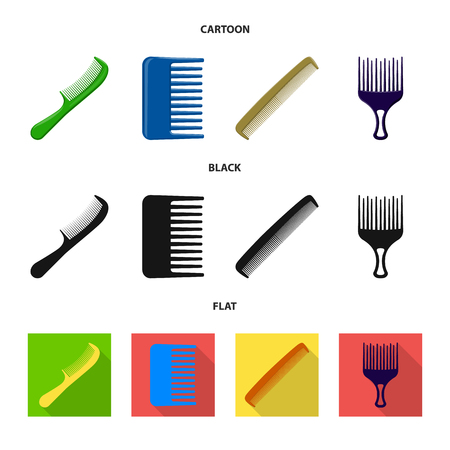 Isolated object of brush and hair sign. Collection of brush and hairbrush stock symbol for web.
