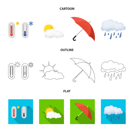 Vector design of weather and climate logo. Collection of weather and cloud vector icon for stock. Ilustracja