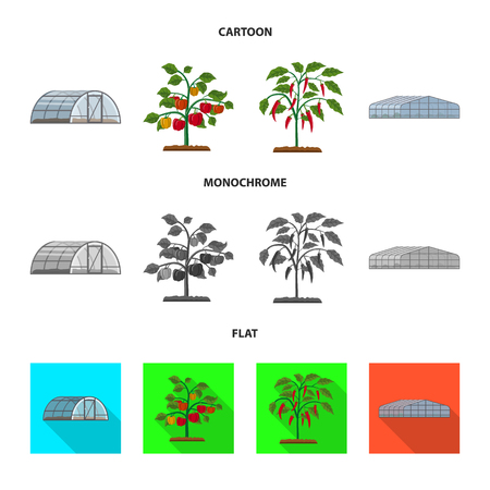 Isolated object of greenhouse and plant icon. Set of greenhouse and garden stock vector illustration.