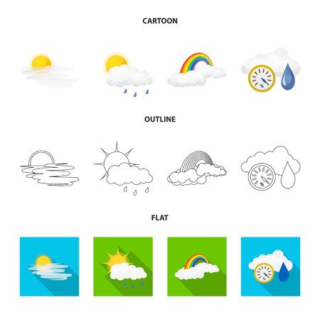 Vector illustration of weather and climate icon. Collection of weather and cloud vector icon for stock. Illustration