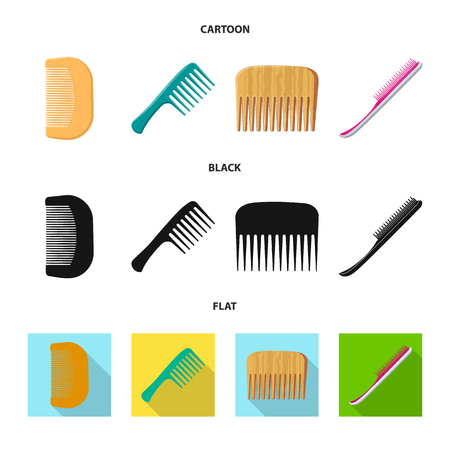 Isolated object of brush and hair icon. Collection of brush and hairbrush vector icon for stock.