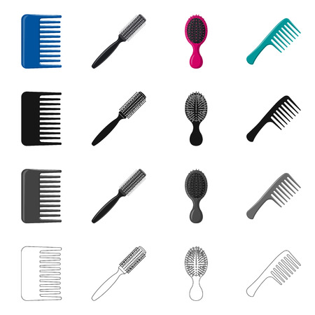 Vector design of brush and hair logo. Collection of brush and hairbrush stock symbol for web.