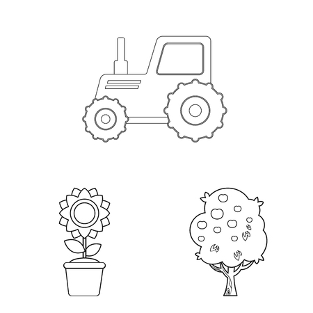 Vector design of farm and agriculture logo. Set of farm and plant stock symbol for web.