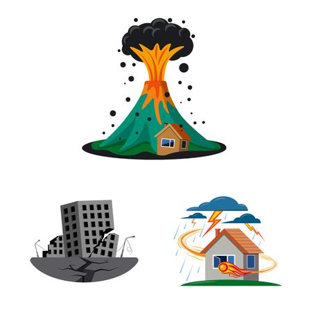 Vector illustration of natural and disaster logo. Collection of natural and risk stock vector illustration. Ilustração
