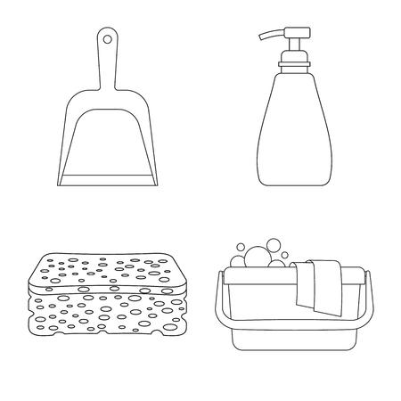 Conception de vecteur de symbole de nettoyage et de service. Collection de nettoyage et d'illustration vectorielle stock ménage.