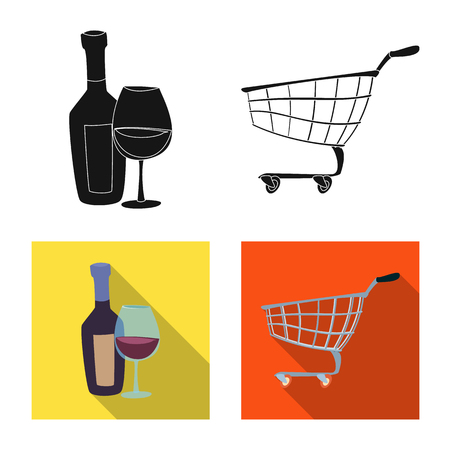 Vector illustration of food and drink sign. Set of food and store vector icon for stock. Illustration