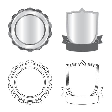 Vector design of emblem and badge symbol. Set of emblem and sticker vector icon for stock. Stockfoto - 114748296