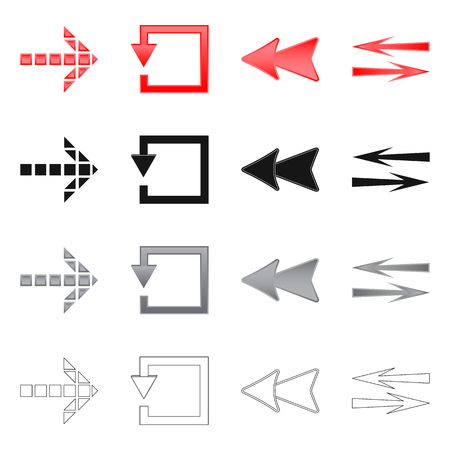 Vector design of element and arrow logo. Set of element and direction stock symbol for web.