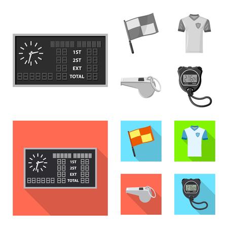 Ilustración de vector de fútbol y signo de engranaje. Conjunto de icono de vector de fútbol y torneo para stock.