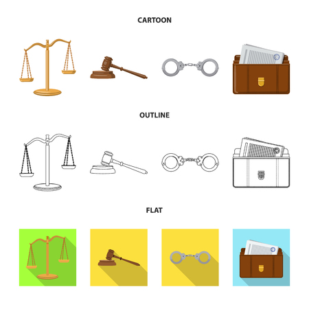 Isolated object of law and lawyer logo. Set of law and justice stock vector illustration.