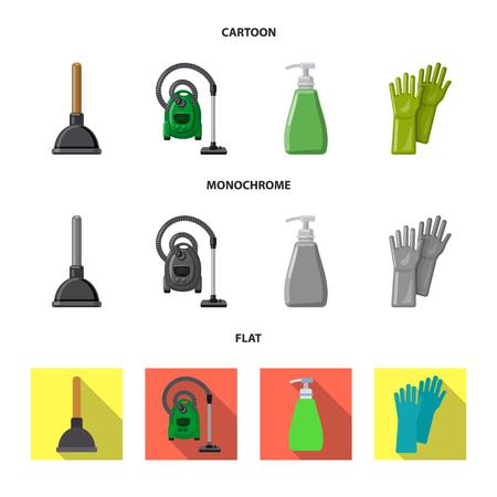 Objet isolé de signe de nettoyage et de service. Ensemble d'illustration vectorielle stock ménage et nettoyage.