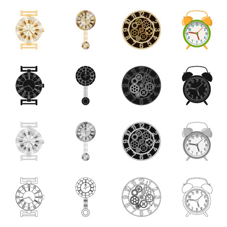 Projekt wektor ikona zegara i czasu. Zestaw zegar i koło wektor ikona na magazynie.