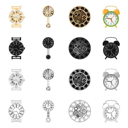 Vektordesign der Uhr und des Zeitsymbols. Satz Uhr und Kreisvektorsymbol für Lager.