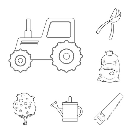 Vector design of farm and agriculture logo. Collection of farm and plant stock vector illustration.