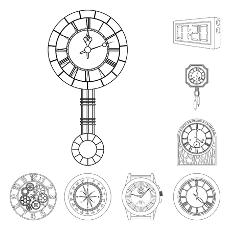 Vector illustration of clock and time icon. Set of clock and circle stock vector illustration. Illustration