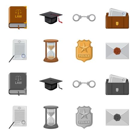 Vectorontwerp van wet en advocaatsymbool. Set van recht en rechtvaardigheid vector pictogram voor voorraad.