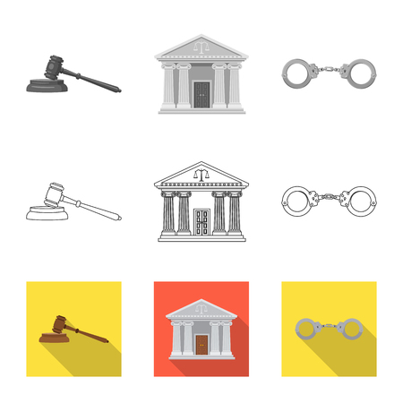 Vector illustration of law and lawyer sign. Collection of law and justice stock symbol for web.