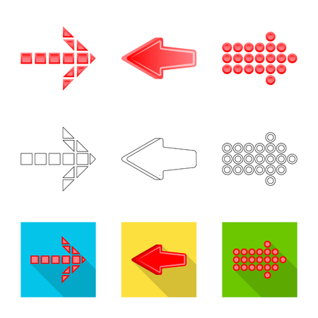 Isolated object of element and arrow sign. Set of element and direction vector icon for stock.