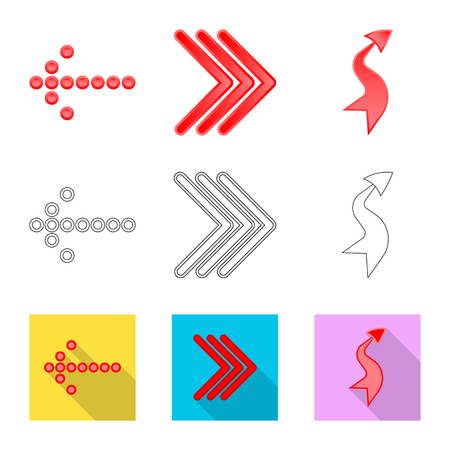 Vector illustration of element and arrow logo. Set of element and direction stock vector illustration. Иллюстрация