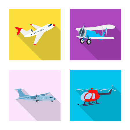 Isolated object of plane and transport symbol. Set of plane and sky stock vector illustration.