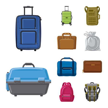 Vector illustration of suitcase and baggage symbol. Set of suitcase and journey vector icon for stock. Vettoriali