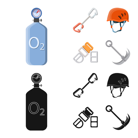 Isolated object of mountaineering and peak icon. Collection of mountaineering and camp stock symbol for web. Vectores