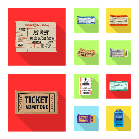 Vector illustration of ticket and admission sign. Set of ticket and event stock symbol for web.