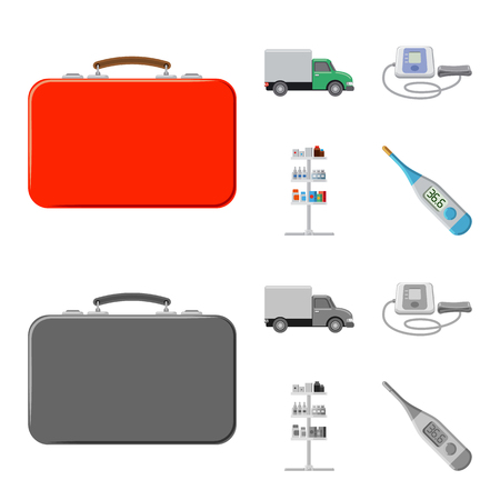 Isolated object of pharmacy and hospital icon. Set of pharmacy and business stock symbol for web.