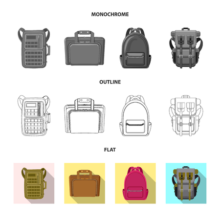 Vector illustration of suitcase and baggage logo. Collection of suitcase and journey vector icon for stock.