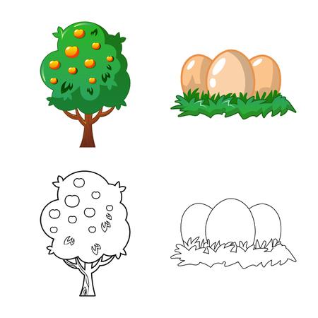 illustration vectorielle du logo de la ferme et de l'agriculture. Ensemble d'illustration vectorielle stock ferme et plante.