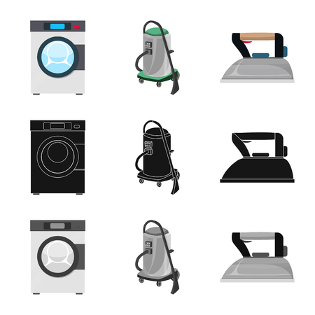 Isolated object of laundry and clean logo. Set of laundry and clothes stock symbol for web.