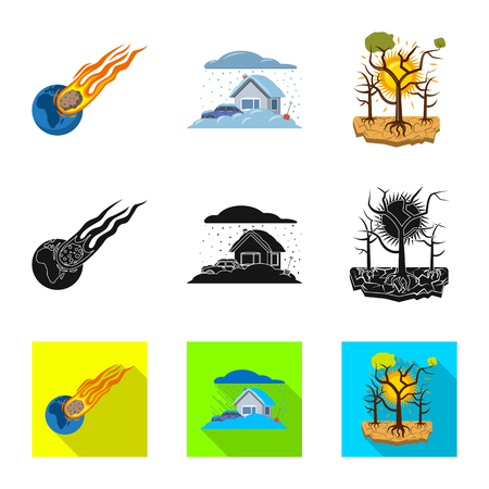 vector illustration of natural and disaster logo. Collection of natural and risk stock vector illustration.