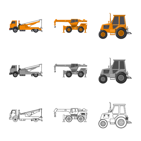 vector design of build and construction symbol. Set of build and machinery vector icon for stock.