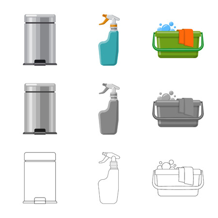 Isolated object of cleaning and service sign. Set of cleaning and household vector icon for stock. Illustration