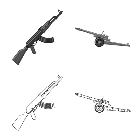 Vector design of weapon and gun logo. Set of weapon and army stock symbol for web.
