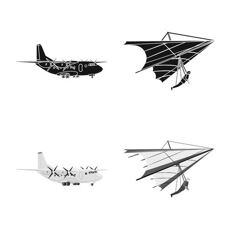 Vector illustration of plane and transport icon. Set of plane and sky stock symbol for web.