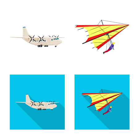Vector illustration of plane and transport icon. Set of plane and sky stock vector illustration.