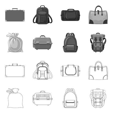 Isolated object of suitcase and baggage logo. Collection of suitcase and journey stock symbol for web. Vettoriali