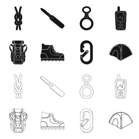 Vector design of mountaineering and peak logo. Set of mountaineering and camp vector icon for stock. Logó