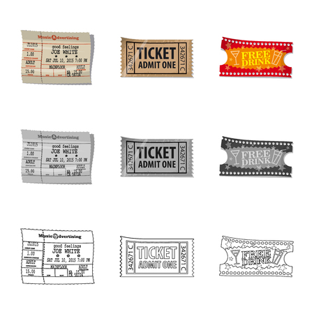 Isolated object of ticket and admission icon. Set of ticket and event vector icon for stock.