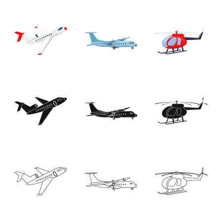 Vector illustration of plane and transport logo. Collection of plane and sky stock symbol for web.