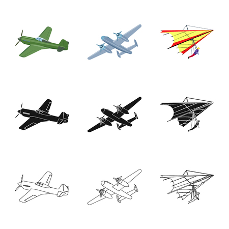 Vector illustration of plane and transport symbol. Set of plane and sky stock symbol for web.