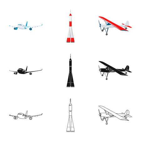 Isolated object of plane and transport sign. Collection of plane and sky stock vector illustration. Çizim