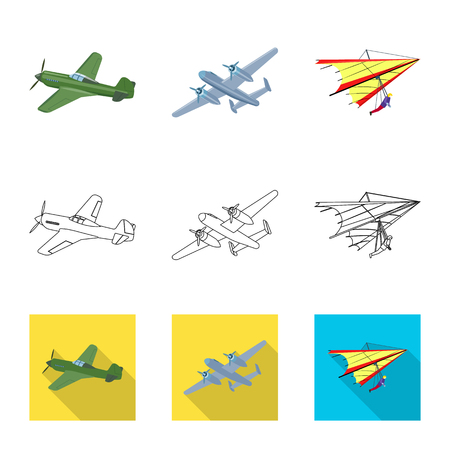 Vector design of plane and transport logo. Set of plane and sky stock vector illustration.