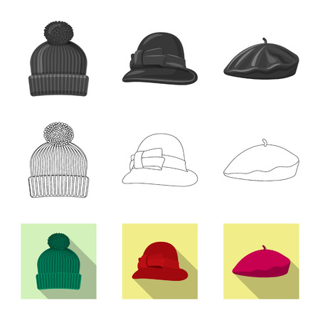 Vector design of headgear and cap logo. Collection of headgear and accessory vector icon for stock. 矢量图像