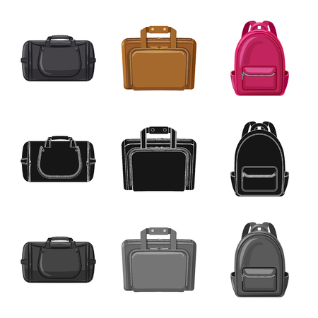 Vector design of suitcase and baggage symbol. Set of suitcase and journey vector icon for stock.